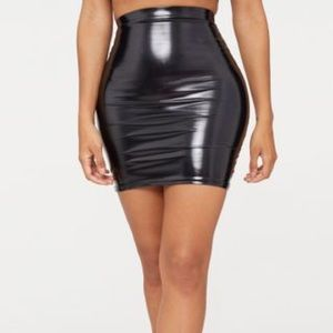 Pretty Little Thing Black Vinyl Skirt